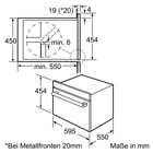 Masskizze Bosch Einbau-Dampfgarer HBC24D553