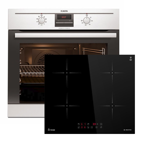 aeg einbau backofen be3002021m induktions kochfeld ebay. Black Bedroom Furniture Sets. Home Design Ideas
