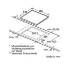 Masskizze Einbau Backofen EBI 12066 + Autarkes Glaskeramik-Kochfeld rahmenlos